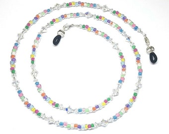 Swarovski Crystal AB Czech Color-Lined Glass Bead Mix Eyeglass Chain Holder
