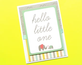 Elephant Baby Shower Card - Baby Congratulations - Hello Little One - Gender Neutral Baby Card - New Baby - Baby Shower Gift - Welcome Baby