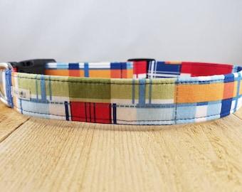 "Blue Madras Dog Collar /  Plaid Dog Collar / Navy Dog Collar / Classic Plaid Dog Collar / Summer Dog Collar /  ""The Fripp"""