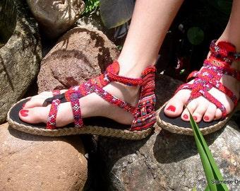 Womens Sandals Hmong Embroidered Deep Pink Vegan Gladiator Sandals