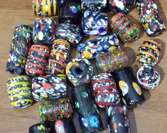 Large Glass Lamp work Beads, Mixed OP with shiny finish, 28 beads assorted sizes with 4-5mm hole over 10 oz. of beads