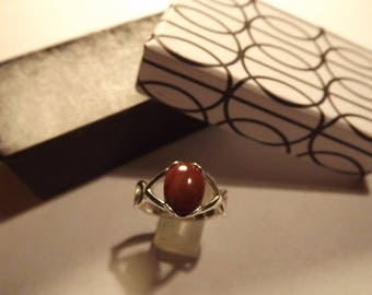 Sterling Silver .925 Red Jasper (10x8) Cabochon Ring