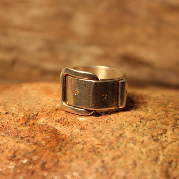 Mens Rings Large Silver Buckle Ring Sterling Silver Ring 11.1 Grams Size 8.75 Sterling Buckle Ring Mexico Silver Vintage Mexico Silver Ring
