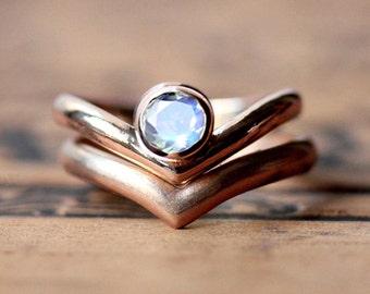 Rainbow moonstone engagement ring set, rose gold engagement ring set, rose gold bridal set, modern engagement ring, Arrow rings, custom made