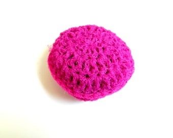 Bright Scrubber: Taffy / Sachet pink colored hand crafted nylon kitchen or bathroom scrubbie Home cleaning nonstick friendly scouring pad