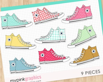 9 All Star Converse Clipart - Shoes Clipart, AllStar, Tennis Clipart, Vector Clipart. Instant Download. Commercial Use - MPG101
