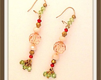 Handmade MWL multi color long dangle earrings. 0118