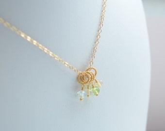 Family Necklace, Gold, Genuine Gemstones, Birthstones, Custom Mother's Day Jewelry
