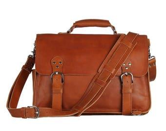 """Messenger Bag Hannover for 16 """"laptops, leather"""