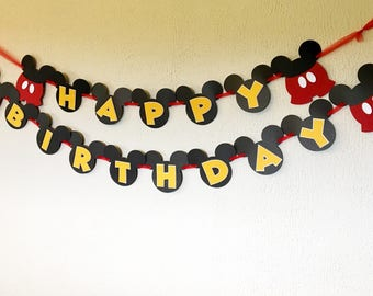 Mickey Mouse Birthday Banner - Mickey Mouse Party - Mickey Mouse Theme - Mickey Mouse Theme Birthday - Mickey Mouse Name Banner