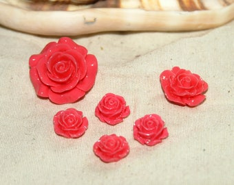 Cabochon resin different diameter X 6 roses (flower)