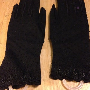 Black Beaded Gloves - Over the Wrist