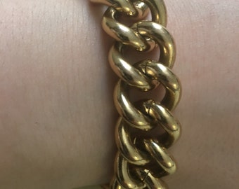 Vintage Agatha Paris chunky chain gold plated bracelet - #agathaparis