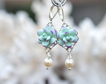 Light Mint Green-Purple Succulent Statement Earrings. Mint-Purple  Succulent Jewelry, Statement Earrings