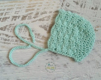 Mint Green Vintage Hand Crochet Knitted Newborn Baby Bonnet Beanie Hat