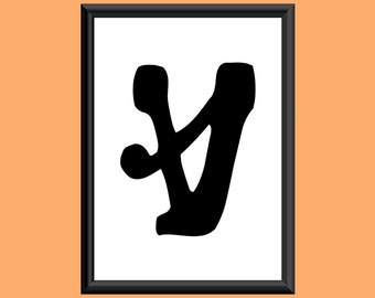 Typography Digital Print Monogram Initial Wall Art Sixties Letter V