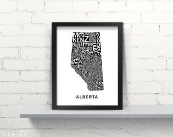 Far Sky Alberta Typographic Map
