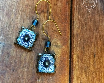 Blue dangle earrings, Islamic jewelry, Bohemian earrings, Islamic tile design, Handmade earrings, Folk art, Middle Eastern