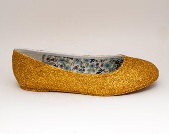 Glitter | Gold Ballet Flat Slipper Custom Shoes