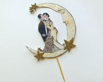 Wedding Cake Topper -Art Deco-Crescent Moon - Bride and Groom - Gold Glitter Stars
