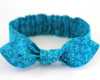 """Baby Bow Headband, baby girl headband, turquoise,  knot, flowered, baby headbands,  """"Callie"""", baby bows, infant, toddler, girl, adult"""