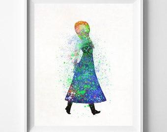Frozen, Frozen Disney Print, Disney Princess, Anna Poster, Gift Idea, Watercolor Art, Watercolor Painting, Disney Wall Art, Fathers Day Gift