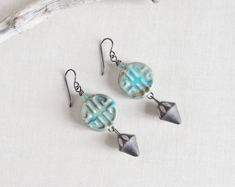 Ojunwa.Chalcedony Earrings,Tribal,Ethnic,Ceramic ,Turquoise lampwork Beads,Petite,Rustic,Handmade,Boucles d'oreilles,Yeelen Spirit,Earrings