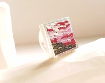 California Sunset Ring modern micro mosaic and sterling silver - Stilosissima M the new jewelry line -