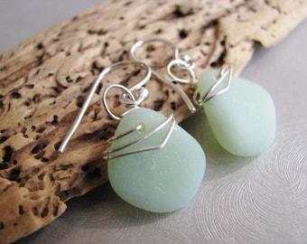 Mothers Day Gifts - Rare Jadeite Green Milk Glass - Sea Glass Dangle Earrings - Beach Glass Jewelry - Sea Glass from Prince Edward Island