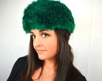 Vintage Green Dyed Sheepskin Lamb Fur Hat