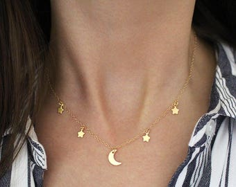 Moon and Stars Charm Necklace, Night sky, Crescent Moon Necklace, Minimal Boho Jewelry, Gift for her