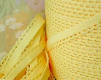 "5yds Elastic Picot Trim Bright Yellow Band 3/8"" Headband Bra Strap Underwear Stretch Waistband hair elastic"