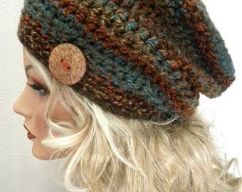 Boho Chic coloris Woodland Tuque chapeau à la main au crochet accessoires de mode Womens pour le bouton en noix de coco naturelle