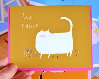 Hey Friend - Spring Cat Card - Snowdrop
