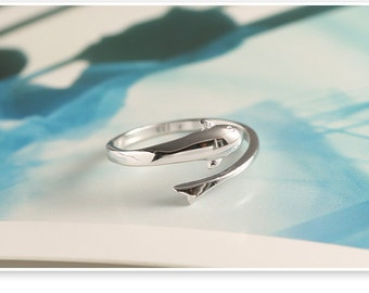 dolphin ring,sterling silver dolphin ring,fish ring,sterling silver fish ring,animal ring,dolphin jewelry,fish jewelry,animal jewelry