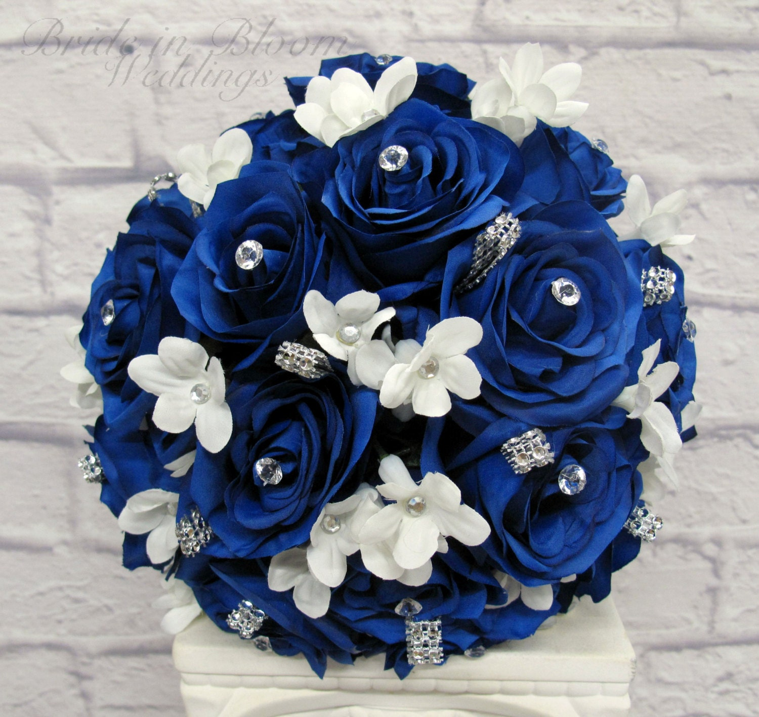 Blue And White Flowers For Weddings: Wedding Bouquet Royal Blue Rose Brides Bouquet Bling