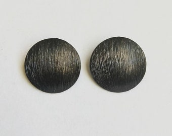 Vintage Black Earrings with Textured Detail