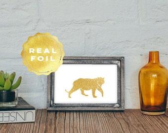 Tiger Gold Foil Print 4x6 - 5x7 - Tiger Art Print - Modern Gold Decor - Gold Minimal Decor - Tiger Decor - Gold Wall Art