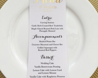 Chic Wedding Foiled Menu - Personalize - Real foil - Choose any color