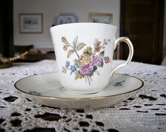 Royal Copenhagen Denmark Demitasse Cup and Saucer, Bone China Cup and Saucer, Pink and Gray Floral Design,  1950's  Vintage Cup and Saucer