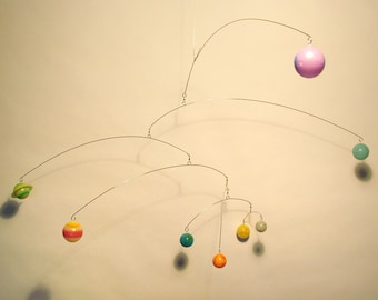 Modern Art Calder Style 8 Planets Mobile with Spinners on each Bar, Fully Rotates, 3D Planets, Glow in the Dark, Glowmobile!