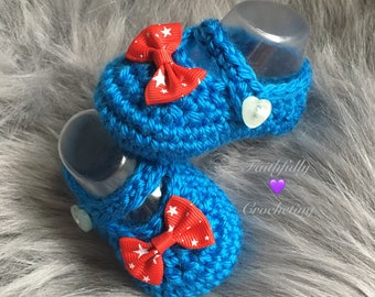 Newborn Mary Janes... july 4th... blue booties.. red star bows... ready to ship