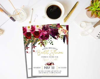 Bridal Shower Invitation, Boho Bridal Shower Invite, Bohemian Bridal Shower Invite, Floral Bridal Shower Invite, Watercolor Bridal Shower