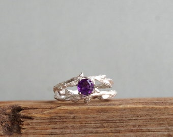 Amethyst Gemstone Double Twisted Branch Elvish Twig  Ring Organic Jewelry February Birthstone