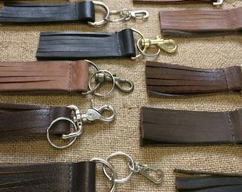 Leather Keychain Wholesale 10pc Lot Fringe Purse Tassel DIY Embellishment Leather Keychain Rustic vintage antique primitive