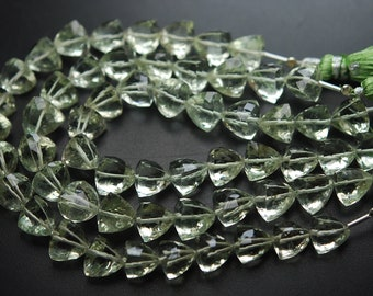 8 Inch Strand,Natural GREEN AMETHYST Faceted 3D Trillion Shape,7-8mm size