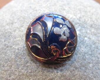 Antique Button VINTAGE Cobalt Blue Glass Button Pictorial Floral One (1) Art Nouveau Deco 20mm NBS Medium Jewelry Sewing Supplies (A227)