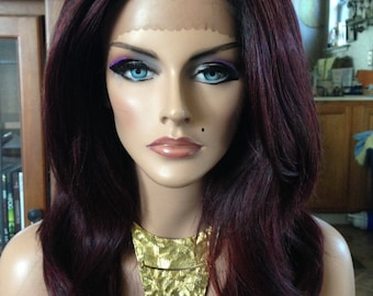 Free Shipping - French Lace Front Wig - 100% Human Blend - Ombre Burgundy - Layered - Straight Styled
