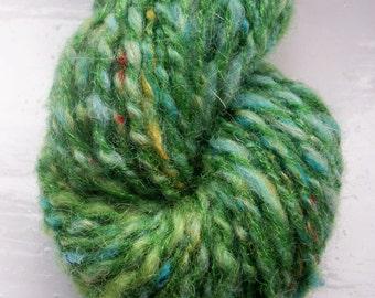 Handspun art yarn, wool, curls, kid mohair, silk, Angelina sparkle by SpinningStreak