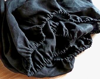 Natural Flax linen fitted sheet,linen bed sheet,luxury linen bedding, white sheet,gray sheets,Linen bedding handmade,custom Queen size